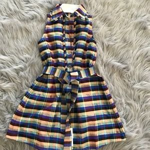 Silk plaid dress  blue with front buttons